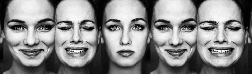 woman showing different emotions