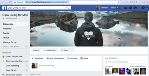 Men Only: Join New Private FB Group 'Glow Living for Men'